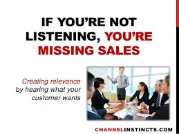 """A picture of a group of people being trained and the writing on it says """" If you're not listening, your missing sales"""""""