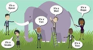 A pink elephant with 6 cartoon like people eaching having a different though about what the elephant is. Great example of how people see things differently