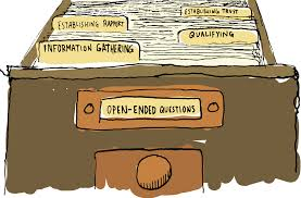 Cartoon looking draw that says open-ended questions on it. Ask the right questions can eliminate the need for a value proposition