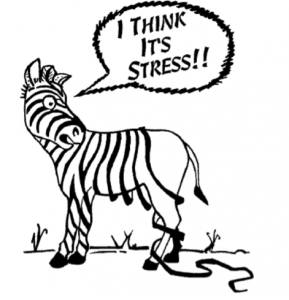 "A picture of a zebra with his stripes following off and a slogan that says ""i think it's stress"""